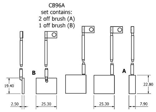 dynamo and starter brush sets - CB96A dynamo brush set