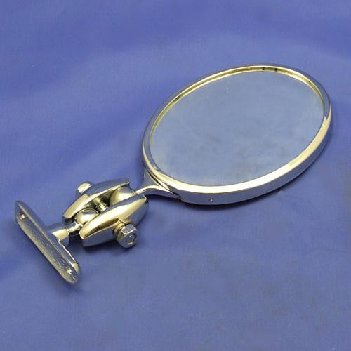 Desmo type 263 oval rear view mirror - polished self colour brass