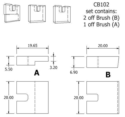 dynamo and starter brush sets - CB102 dynamo brush set