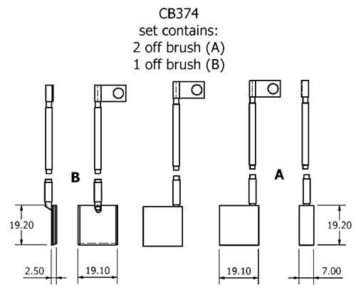 dynamo and starter brush sets - CB374 dynamo brush set