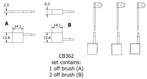 dynamo and starter brush sets - CB362 dynamo brush set