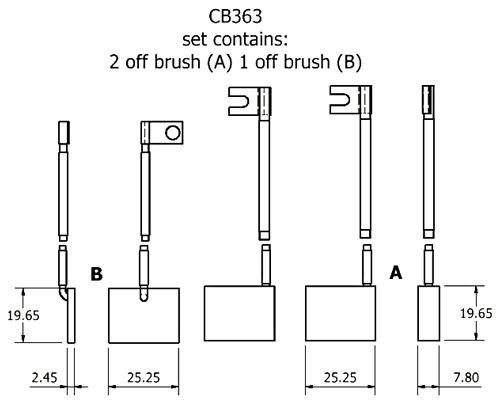 dynamo and starter brush sets - CB363 dynamo brush set