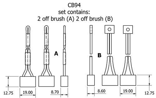 dynamo and starter brush sets - CB94 starter brush set
