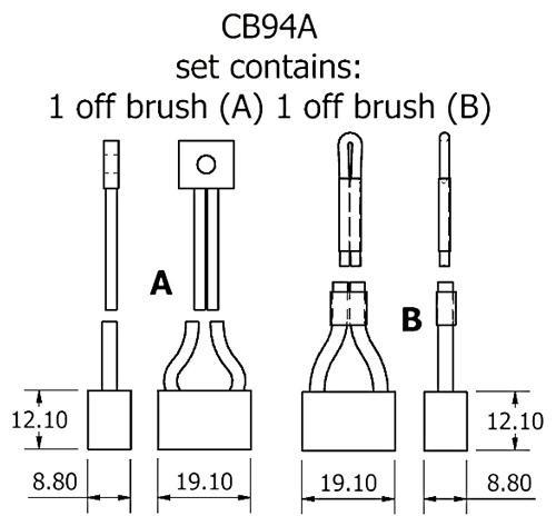 dynamo and starter brush sets - CB94A starter brush set