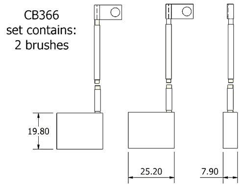 dynamo and starter brush sets - CB366 dynamo brush set